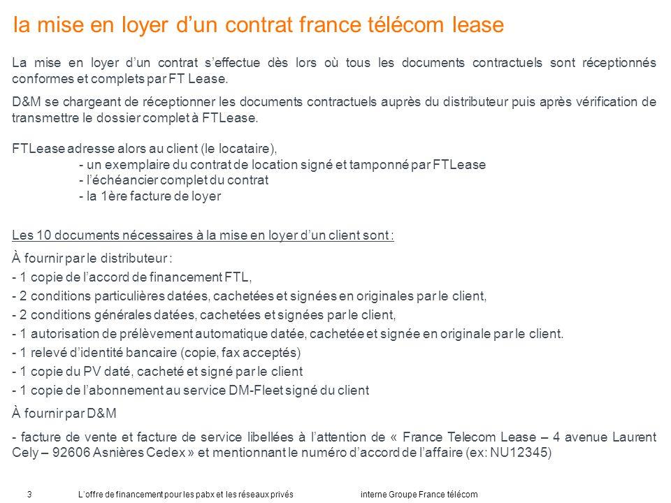 la mise en loyer d'un contrat france télécom lease