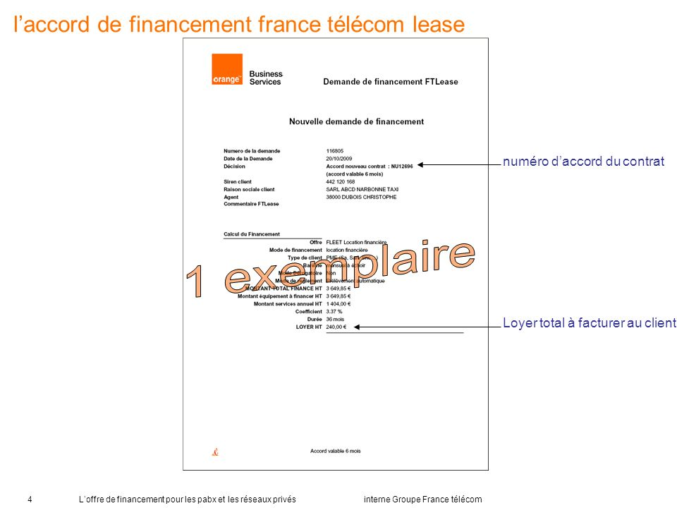 l'accord de financement france télécom lease