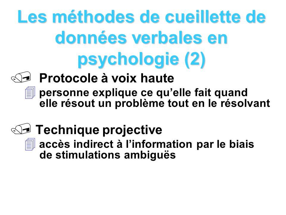 Les méthodes de cueillette de données verbales en psychologie (2)