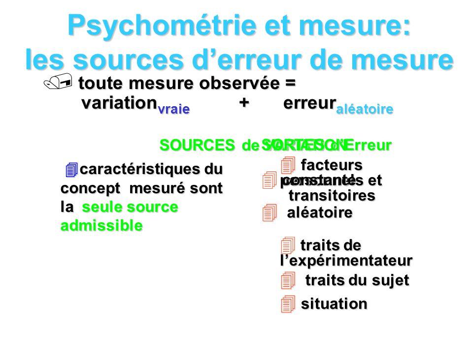 Psychométrie et mesure: les sources d'erreur de mesure