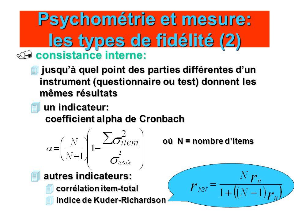 Psychométrie et mesure: les types de fidélité (2)