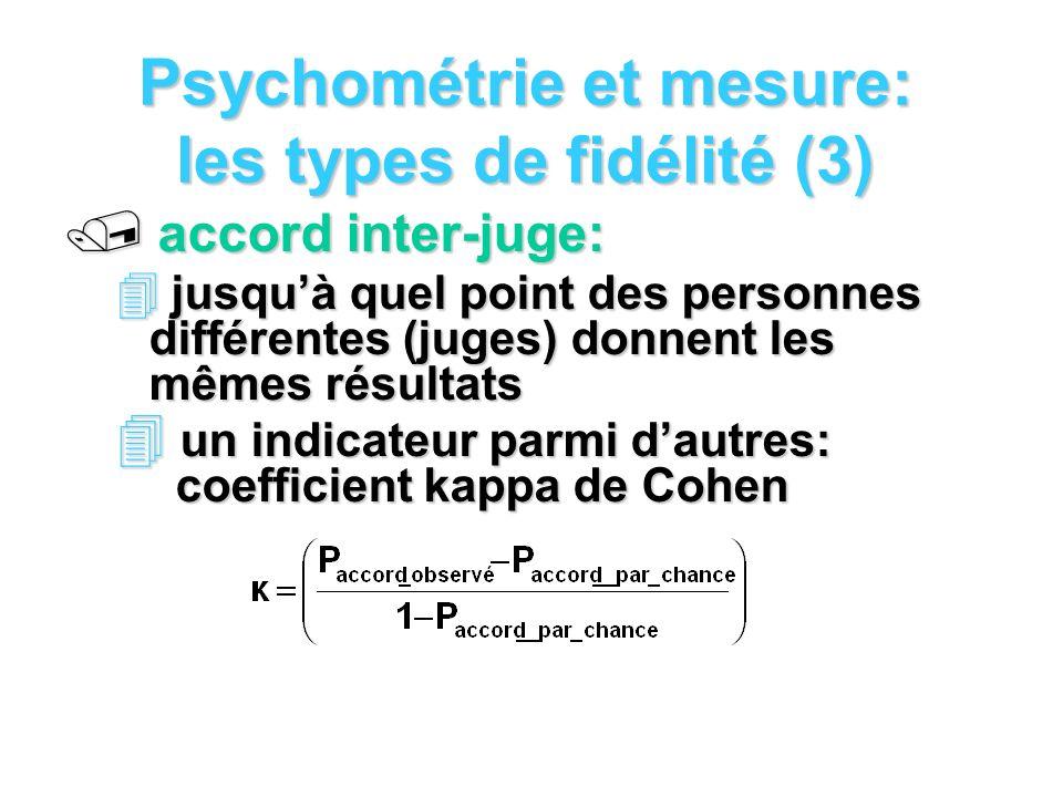 Psychométrie et mesure: les types de fidélité (3)