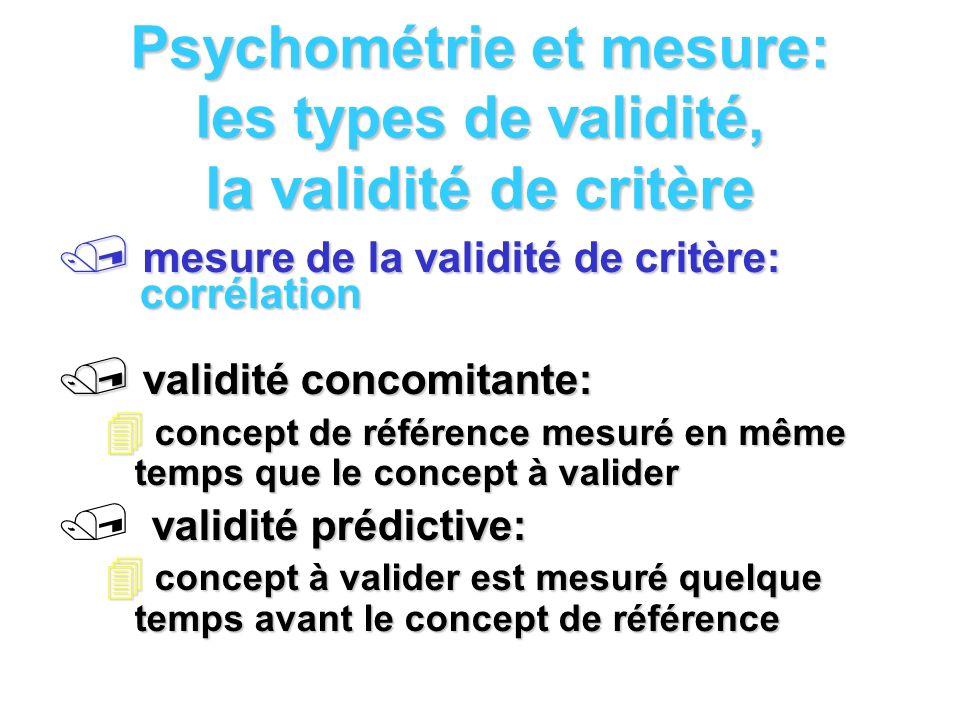 Psychométrie et mesure: les types de validité, la validité de critère