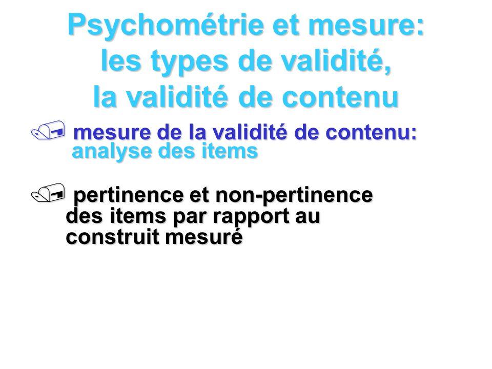 Psychométrie et mesure: les types de validité, la validité de contenu