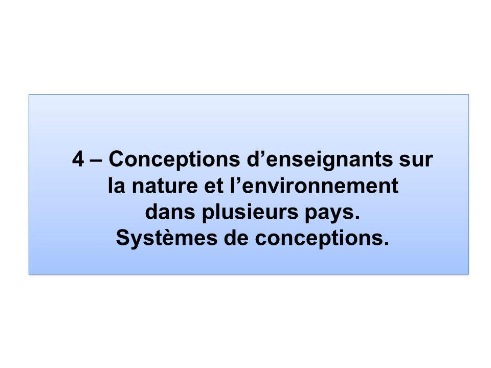 4 – Conceptions d'enseignants sur la nature et l'environnement