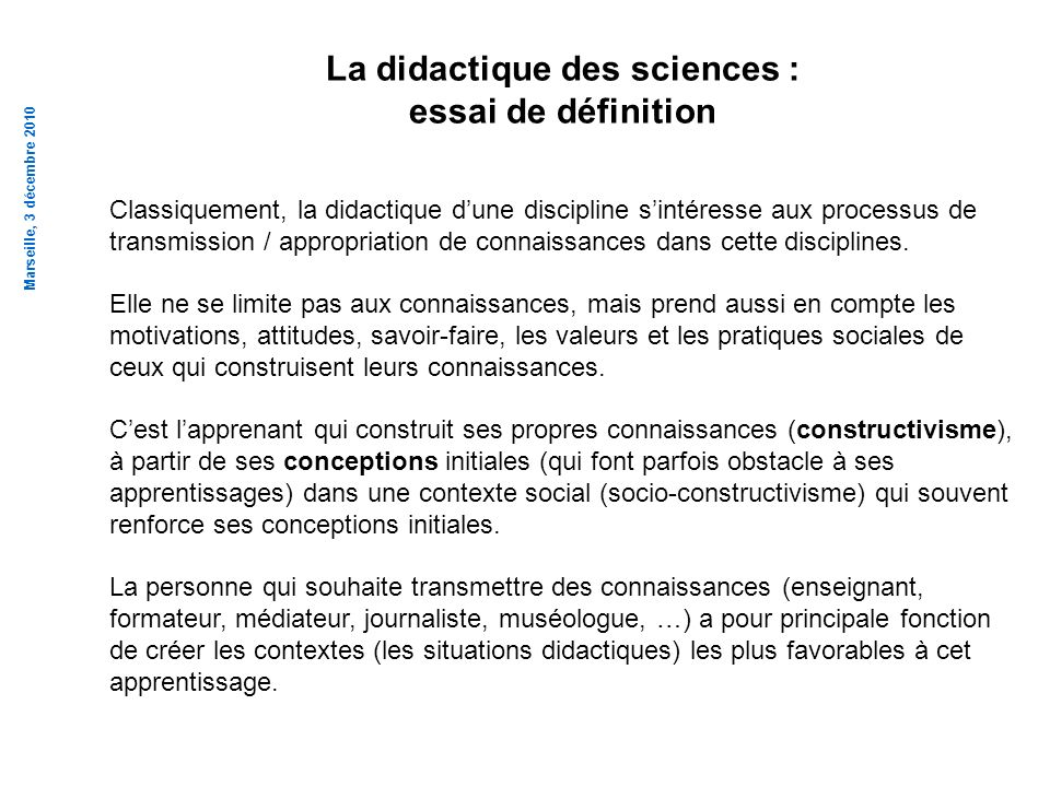 La didactique des sciences :