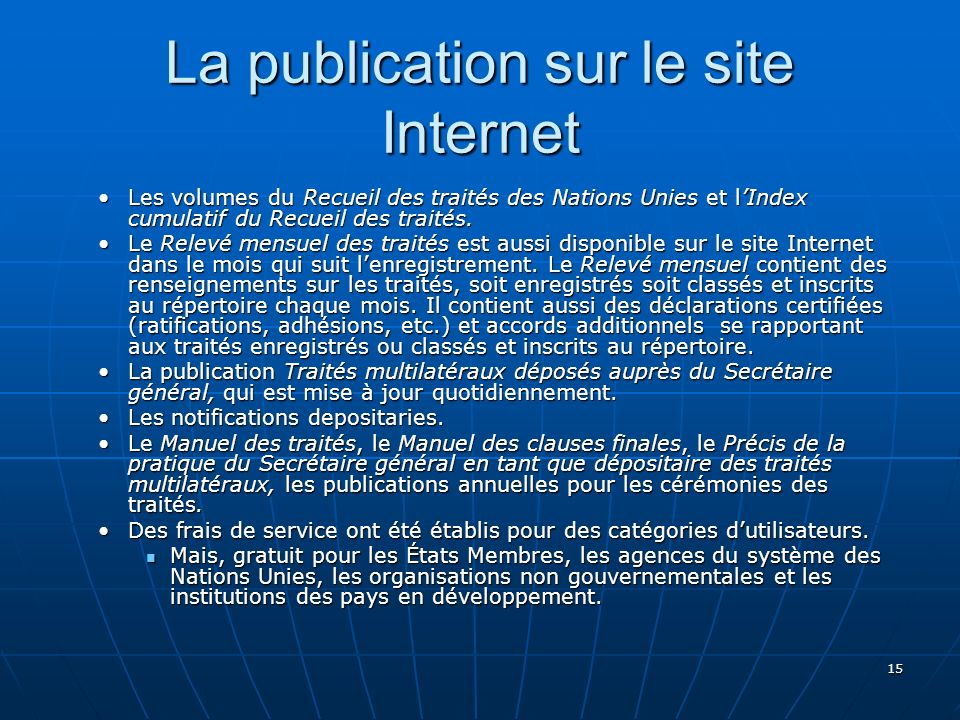 La publication sur le site Internet
