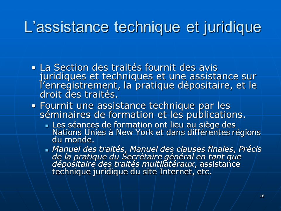 L'assistance technique et juridique