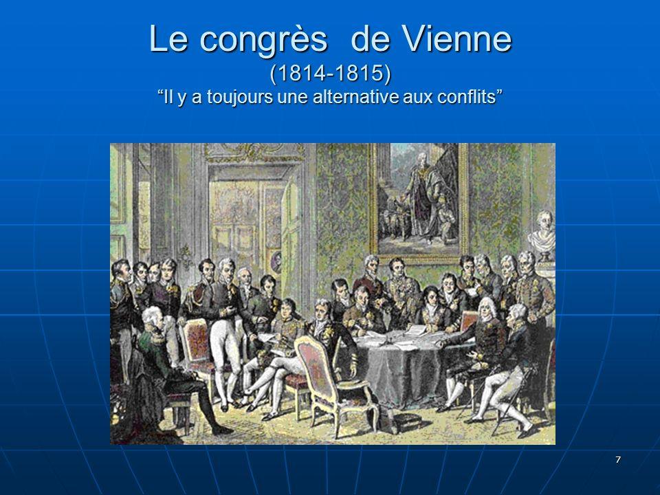 Le congrès de Vienne (1814-1815) Il y a toujours une alternative aux conflits
