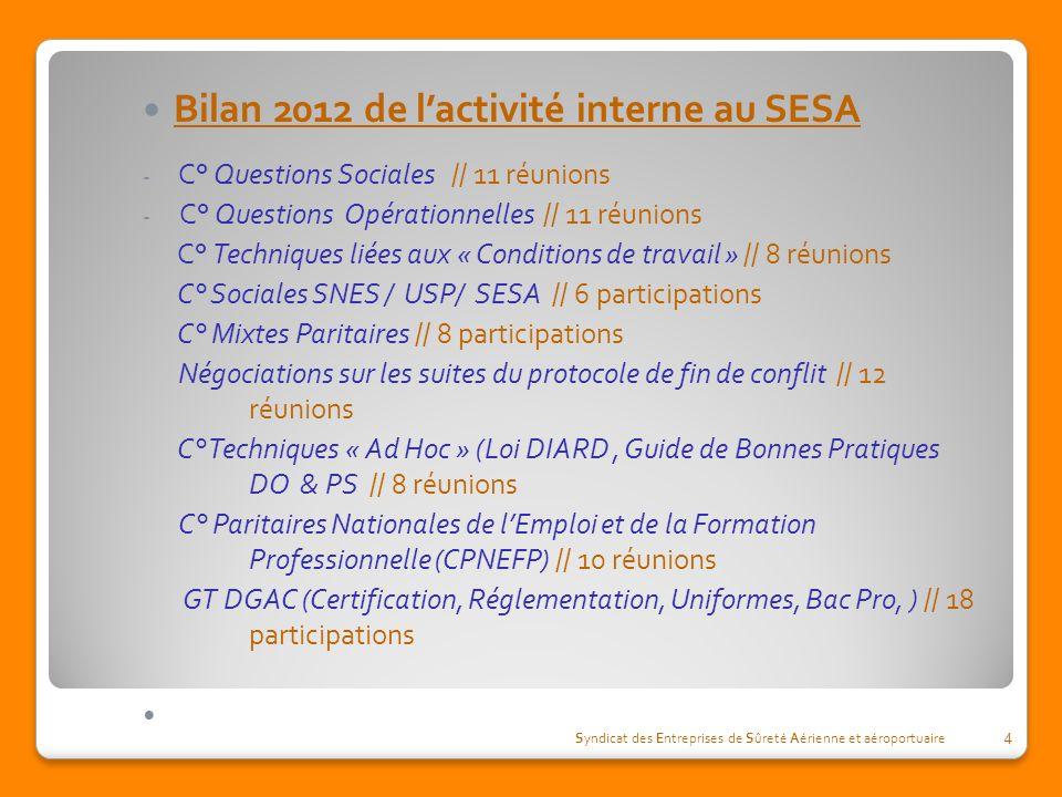Bilan 2012 de l'activité interne au SESA