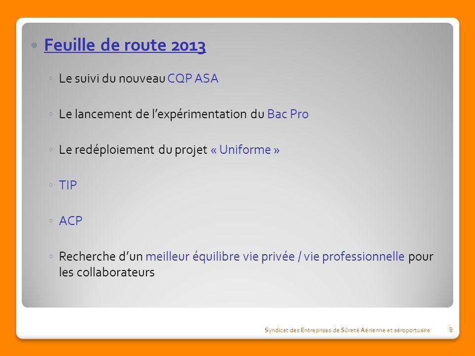 Feuille de route 2013 Le suivi du nouveau CQP ASA