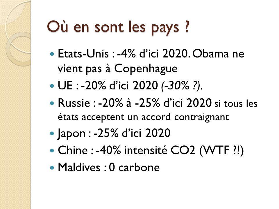 Où en sont les pays Etats-Unis : -4% d'ici 2020. Obama ne vient pas à Copenhague. UE : -20% d'ici 2020 (-30% ).