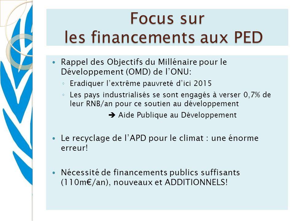 Focus sur les financements aux PED