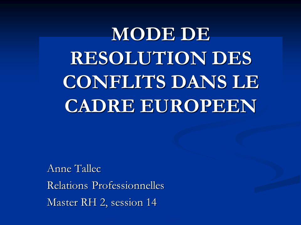 MODE DE RESOLUTION DES CONFLITS DANS LE CADRE EUROPEEN