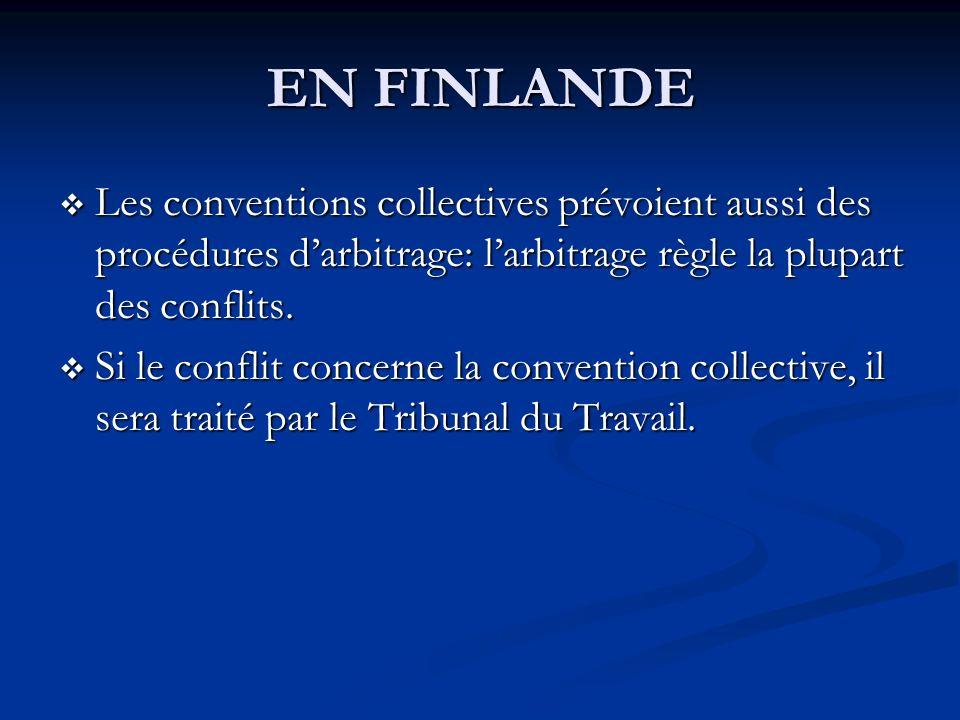 EN FINLANDE Les conventions collectives prévoient aussi des procédures d'arbitrage: l'arbitrage règle la plupart des conflits.