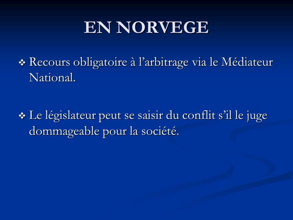 EN NORVEGE Recours obligatoire à l'arbitrage via le Médiateur National.