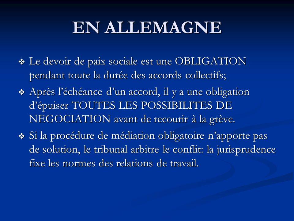 EN ALLEMAGNE Le devoir de paix sociale est une OBLIGATION pendant toute la durée des accords collectifs;