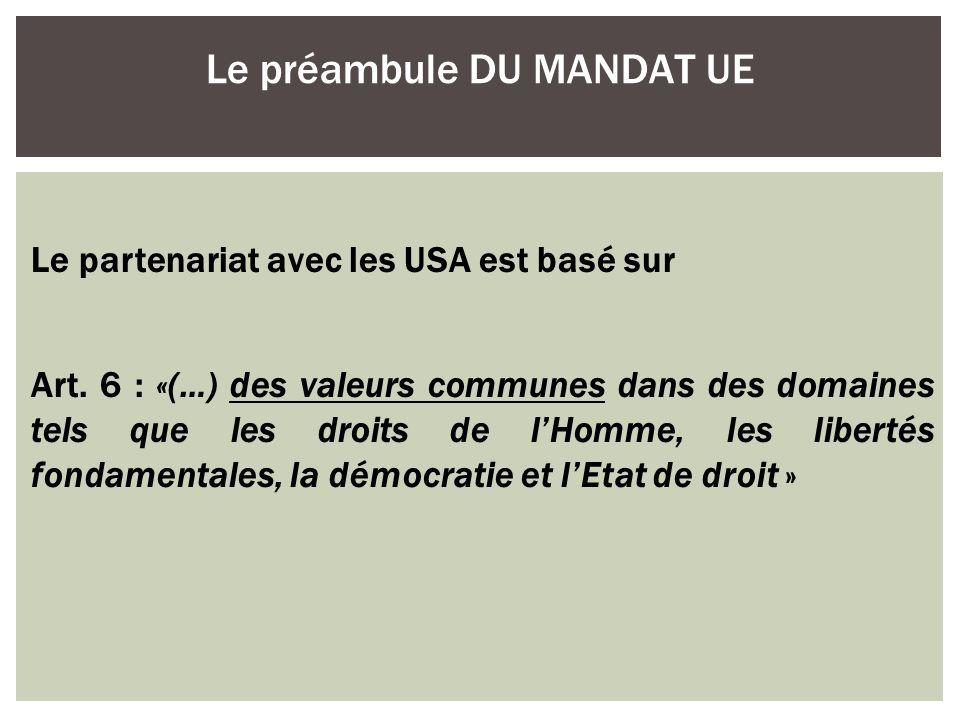 Le préambule DU MANDAT UE