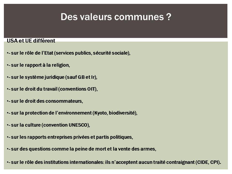 Des valeurs communes USA et UE diffèrent