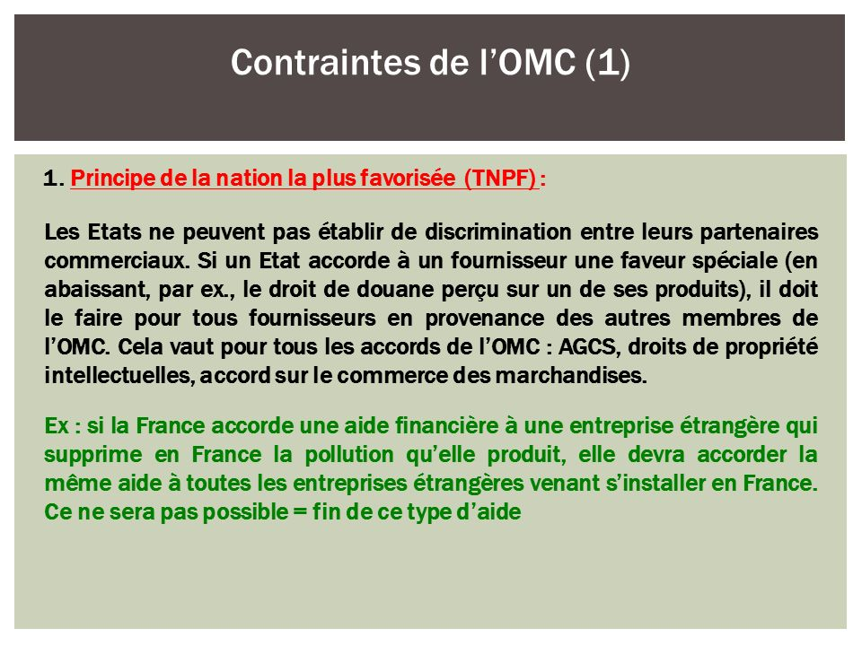 Contraintes de l'OMC (1)