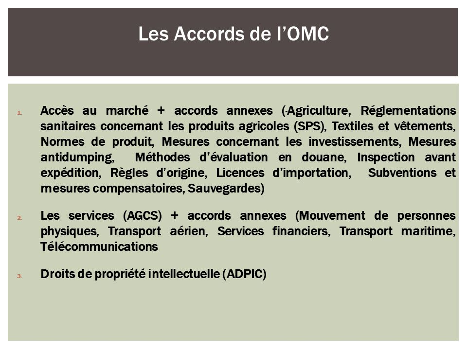 1616 Les Accords de l'OMC.