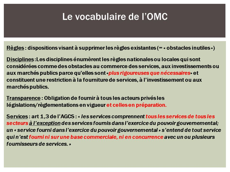 Le vocabulaire de l'OMC