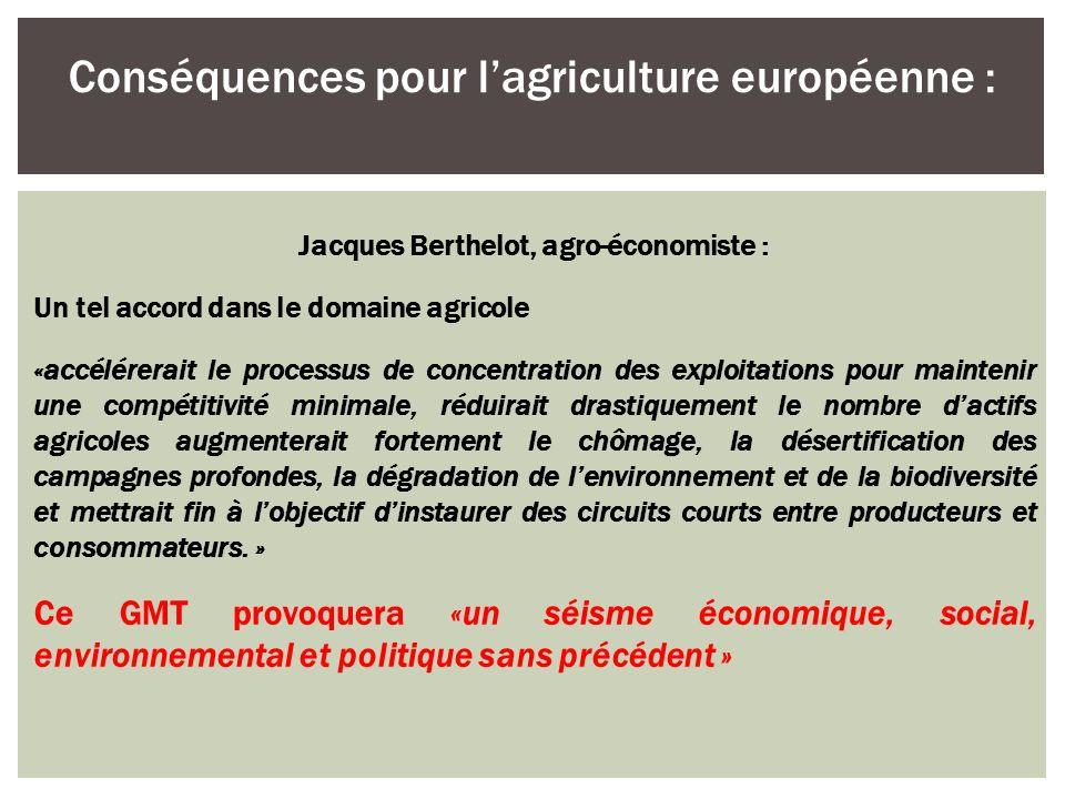 Conséquences pour l'agriculture européenne :