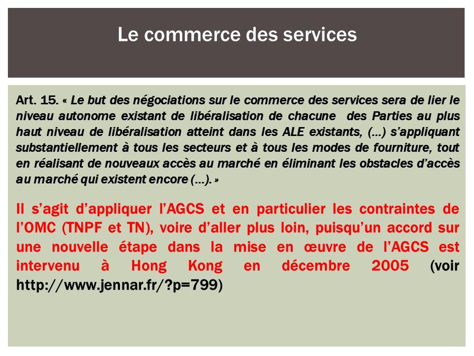 Le commerce des services