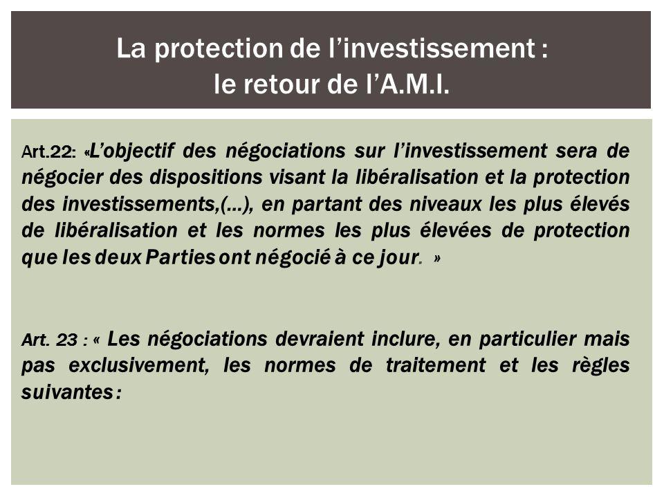 La protection de l'investissement : le retour de l'A.M.I.