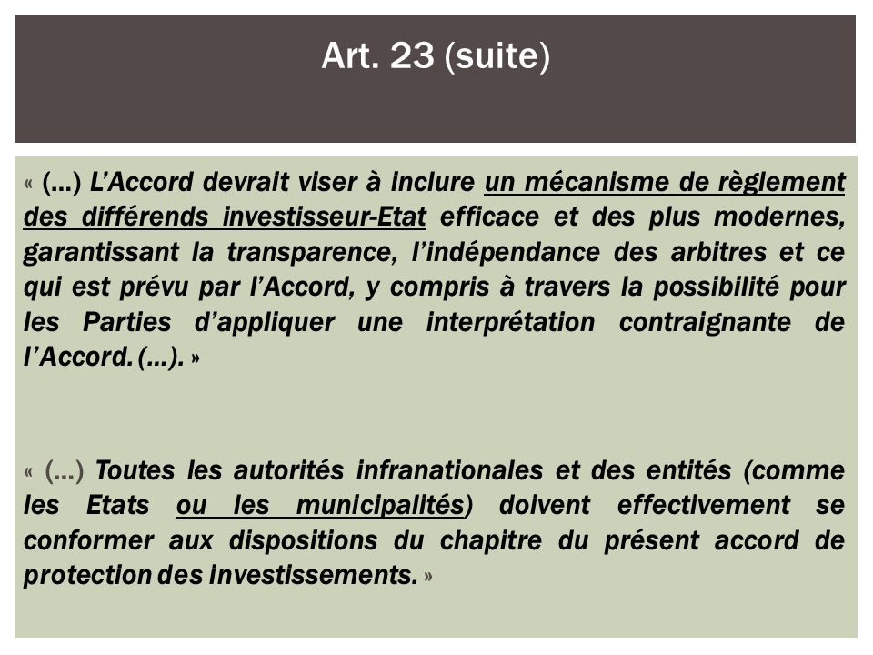 Art. 23 (suite)