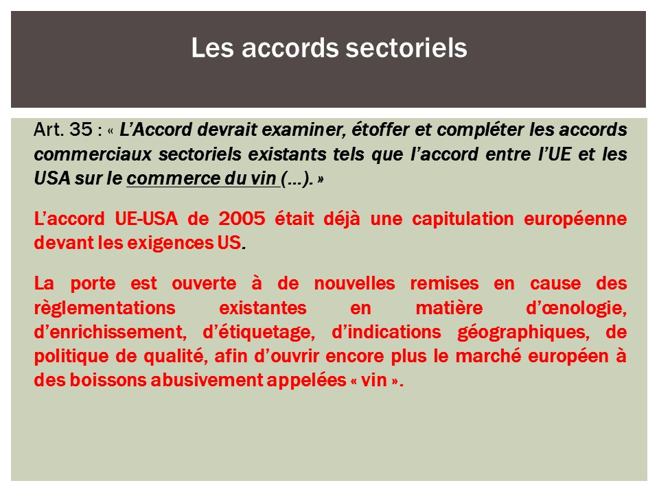 Les accords sectoriels