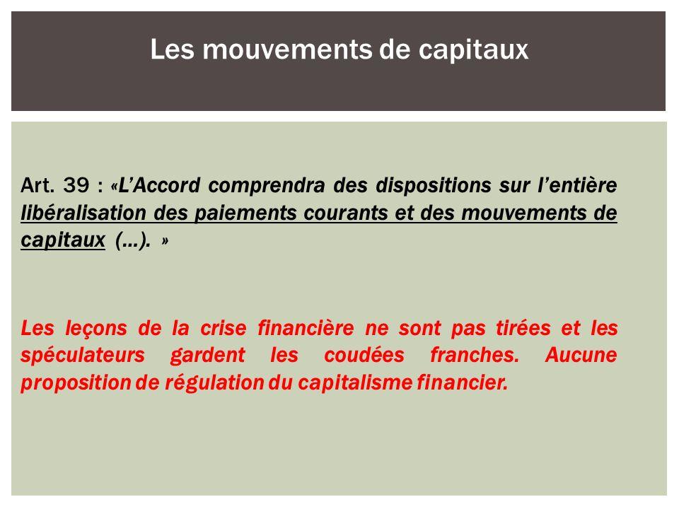 Les mouvements de capitaux