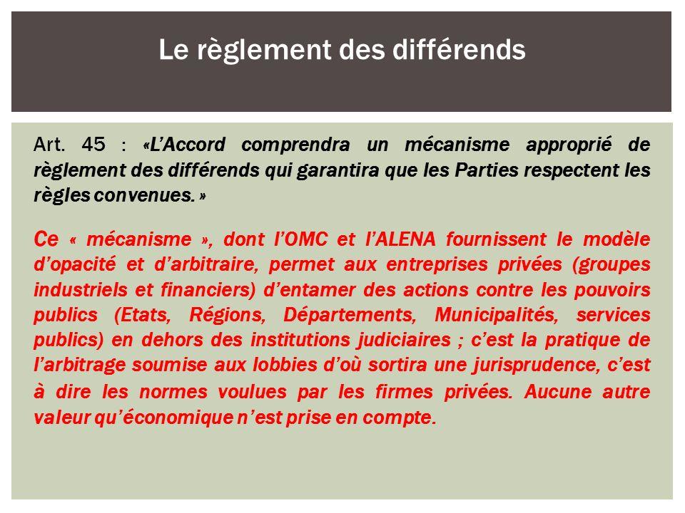 Le règlement des différends