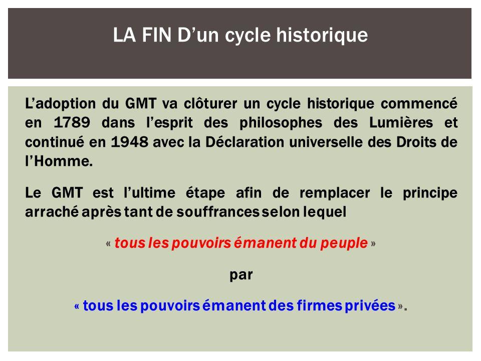 LA FIN D'un cycle historique