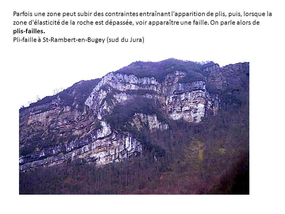 Parfois une zone peut subir des contraintes entraînant l apparition de plis, puis, lorsque la zone d élasticité de la roche est dépassée, voir apparaître une faille. On parle alors de plis-failles.
