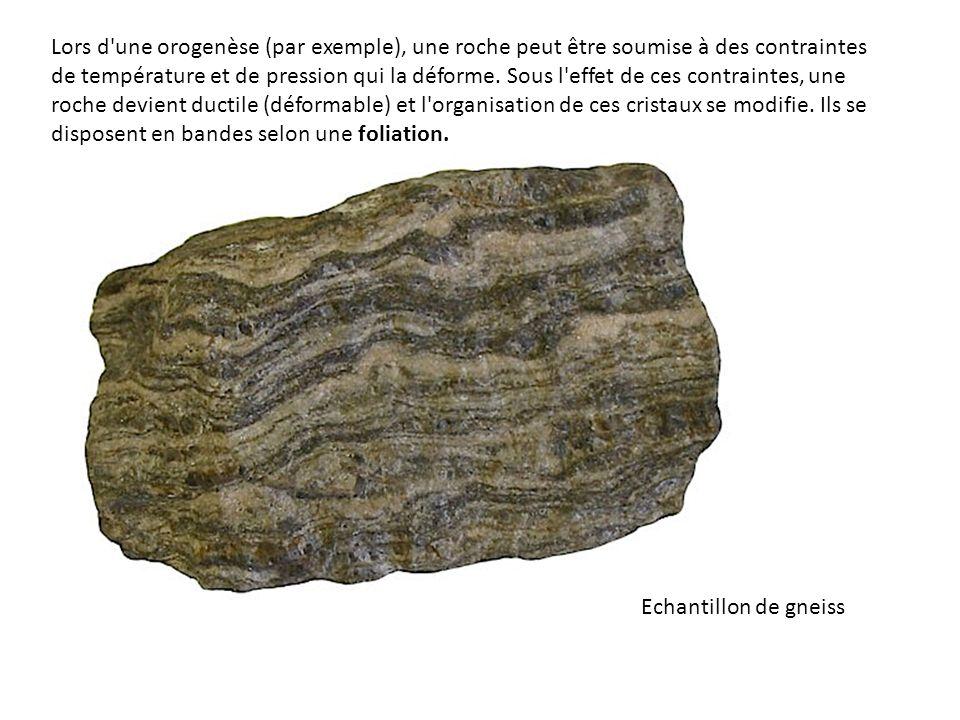 Lors d une orogenèse (par exemple), une roche peut être soumise à des contraintes de température et de pression qui la déforme. Sous l effet de ces contraintes, une roche devient ductile (déformable) et l organisation de ces cristaux se modifie. Ils se disposent en bandes selon une foliation.