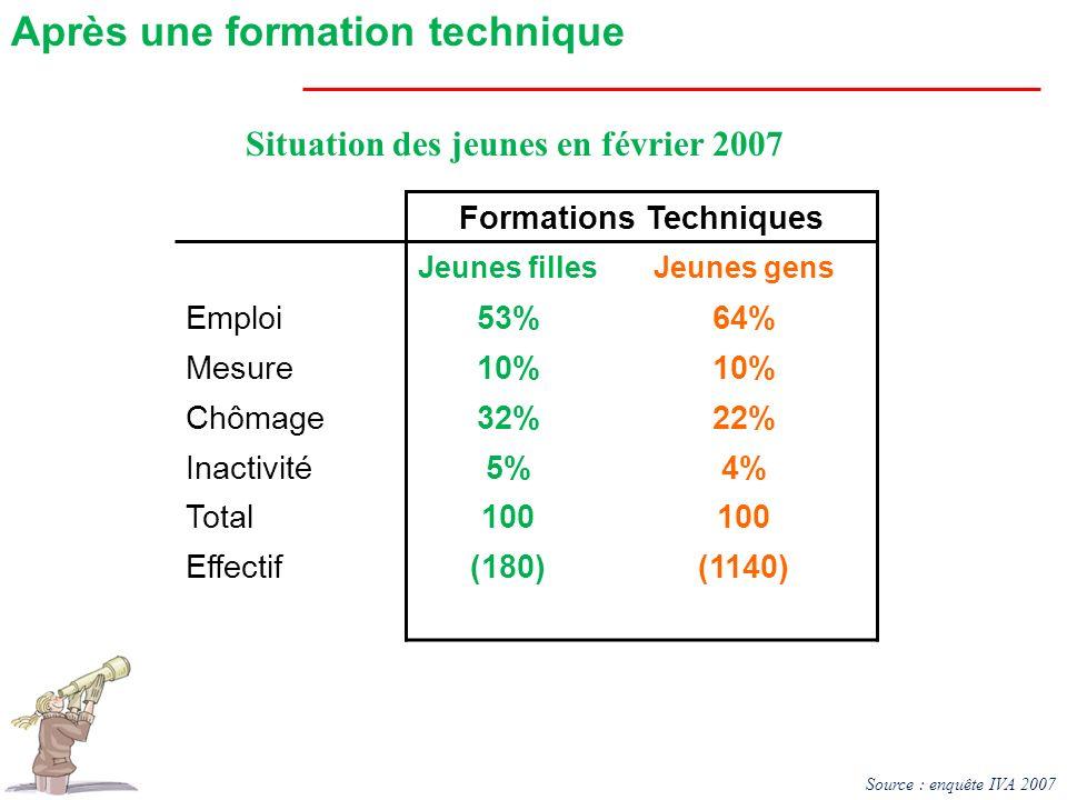 Situation des jeunes en février 2007 Formations Techniques