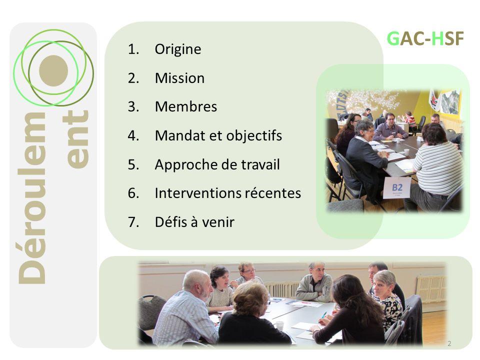 Déroulement GAC-HSF Origine Mission Membres Mandat et objectifs
