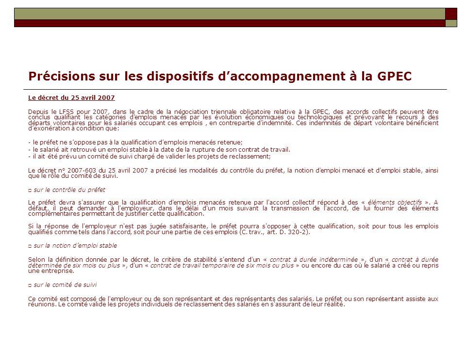 Précisions sur les dispositifs d'accompagnement à la GPEC