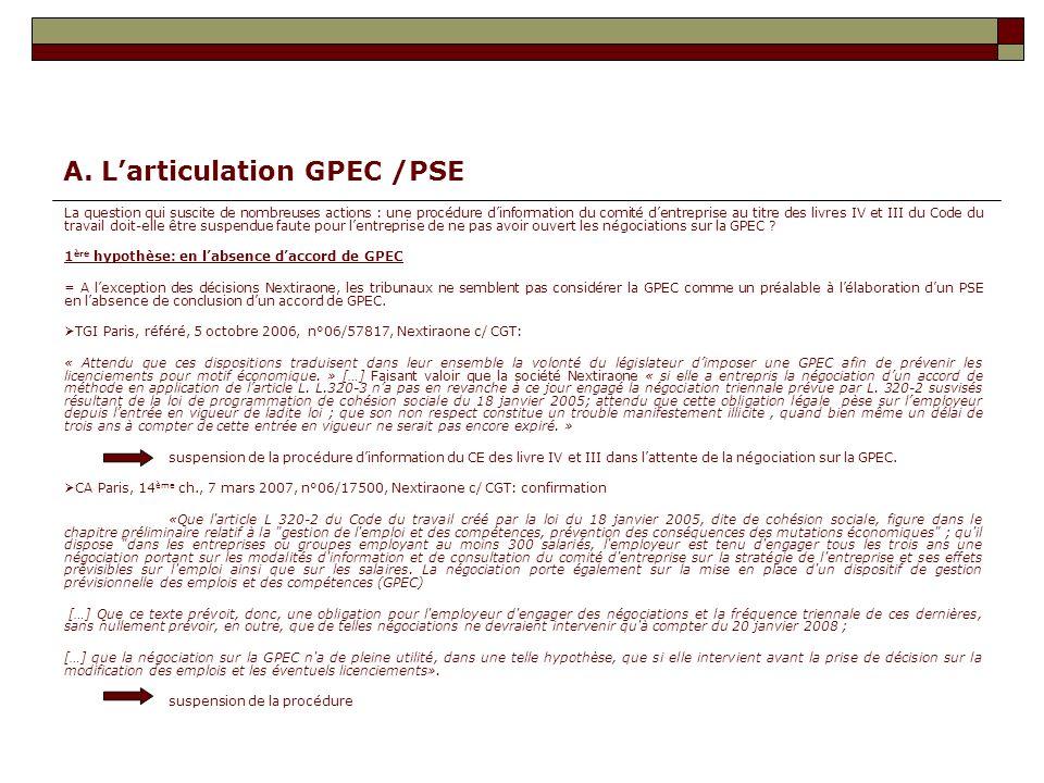 A. L'articulation GPEC /PSE
