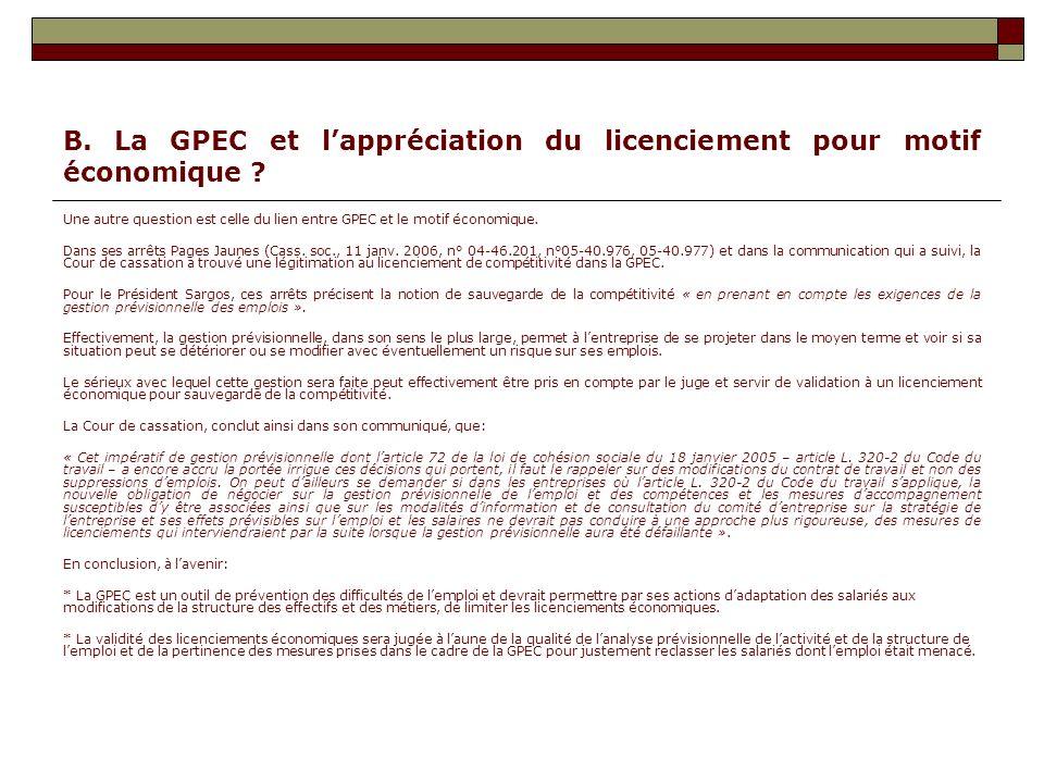 B. La GPEC et l'appréciation du licenciement pour motif économique