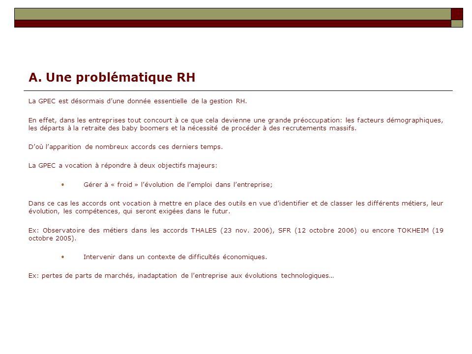 A. Une problématique RH La GPEC est désormais d'une donnée essentielle de la gestion RH.