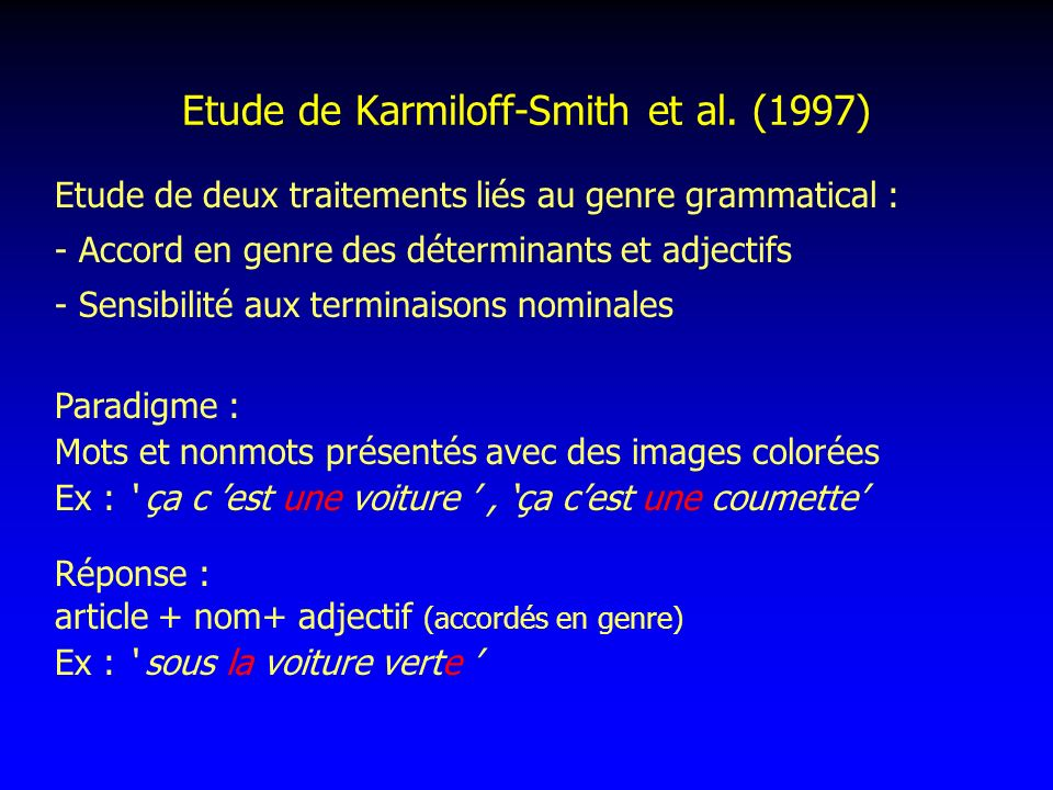 Etude de Karmiloff-Smith et al. (1997)