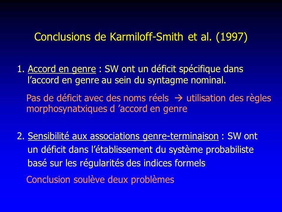 Conclusions de Karmiloff-Smith et al. (1997)
