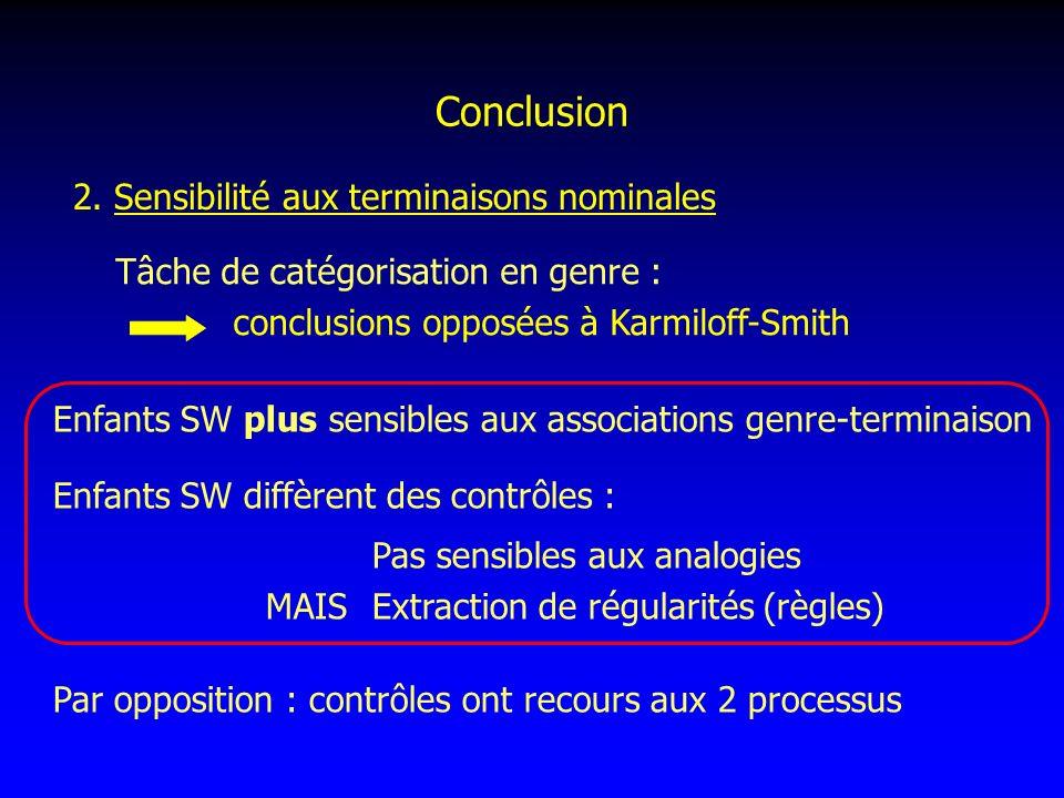 Conclusion 2. Sensibilité aux terminaisons nominales