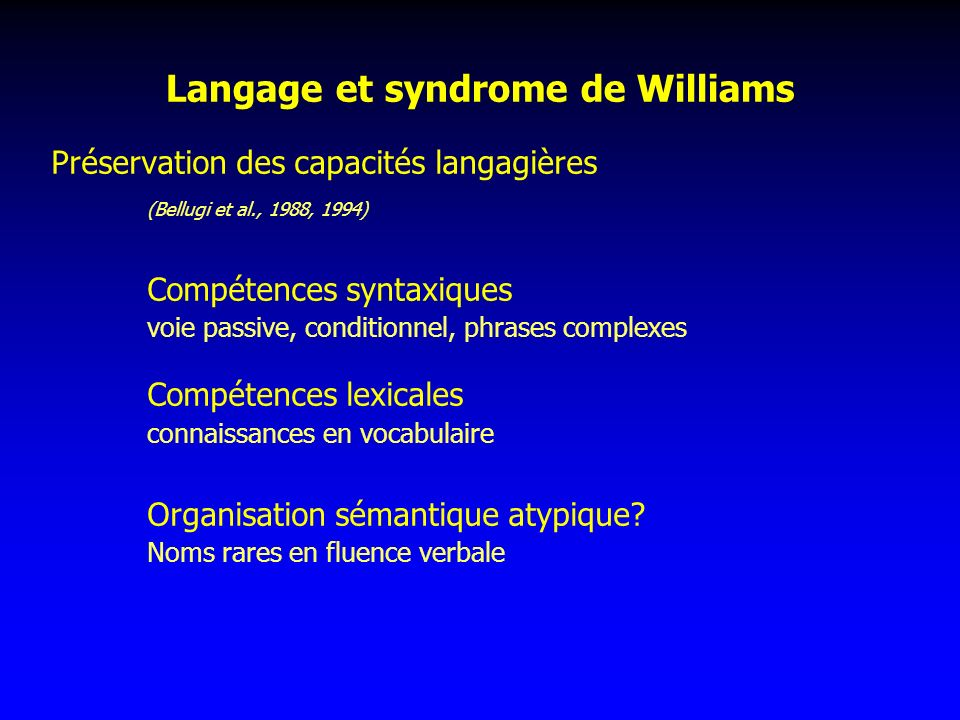 Langage et syndrome de Williams