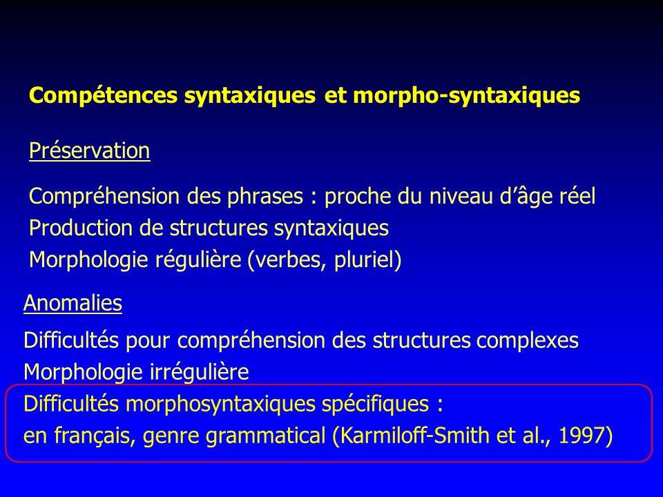 Compétences syntaxiques et morpho-syntaxiques
