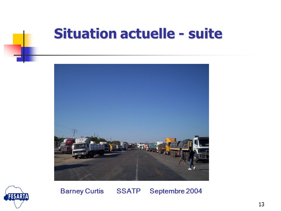 Situation actuelle - suite Barney Curtis SSATP Septembre 2004