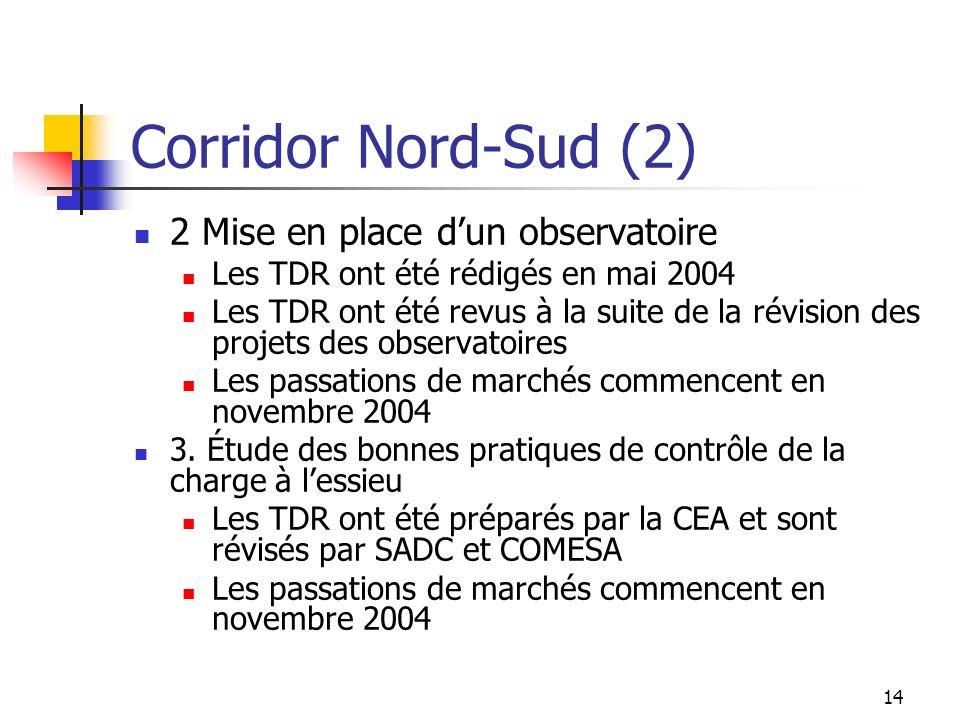 Corridor Nord-Sud (2) 2 Mise en place d'un observatoire