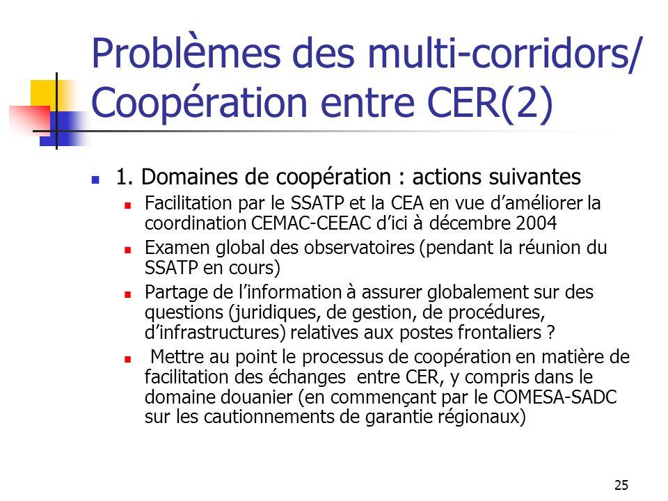 Problèmes des multi-corridors/ Coopération entre CER(2)